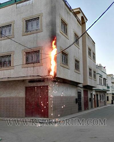 حريق في أسلاك الكهرباء بسبب تماس كهربائي