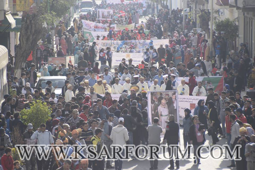 القصر الكبير : مسيرة احتفالية بمناسبة عودة المغرب للاتحاد الإفريقي