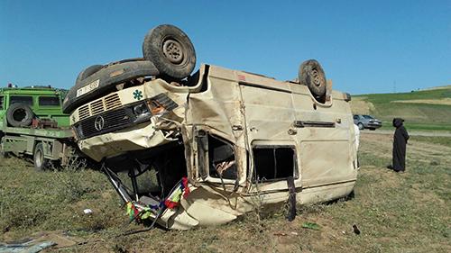بوجديان : إصابة ثمانية عمال في حادت انقلاب سيارة
