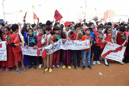 تلاميذ مؤسسة طارق بن زياد للتعليم الخاص يجسدون لوحات المسيرة الخضراء المظفرة