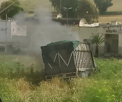 عرباوة : احتراق شاحنة محملة بقصب السكر بعد انحرافها عن الطريق