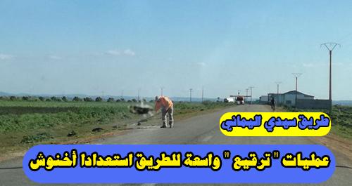 """طريق سيدي اليماني : عمليات """" ترقيع """" واسعة للطريق استعدادا أخنوش"""