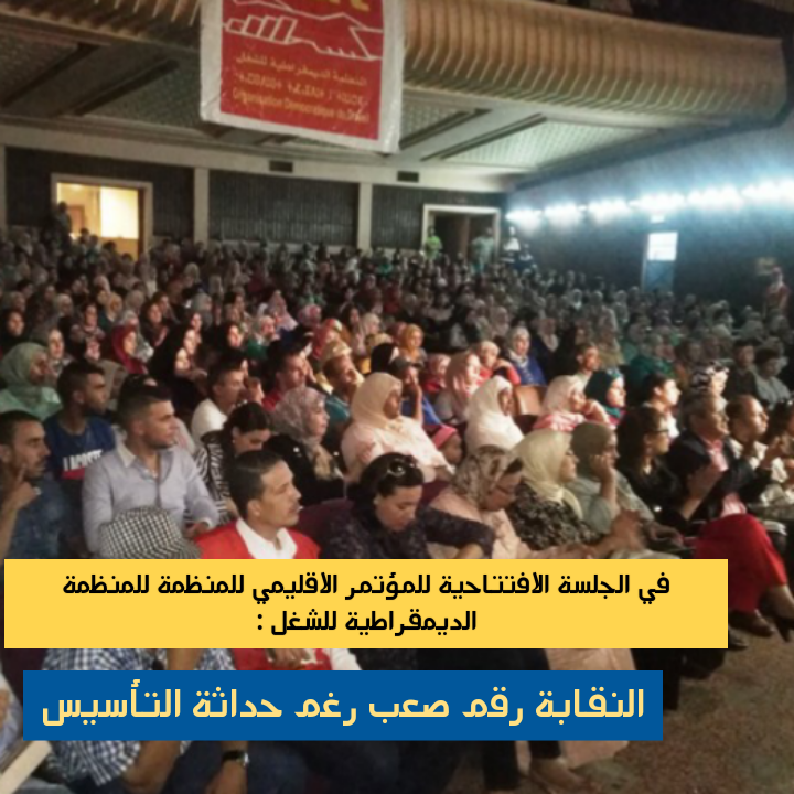 في الجلسة  الافتتاحية للمؤتمر الاقليمي للمنظمة الديمقراطية للشغل : النقابة رقم صعب رغم حداثة  التأسيس