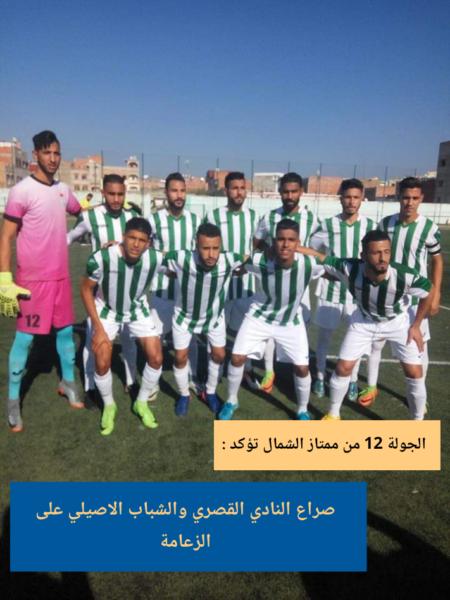 الجولة 12 من ممتاز الشمال تؤكد: صراع النادي القصري والشباب الاصيلي على الزعامة