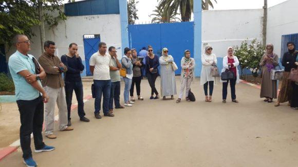 أطر ثانوية مولاي محمد بن عبد الله (التيجيرية) بالعرائش تحتج.