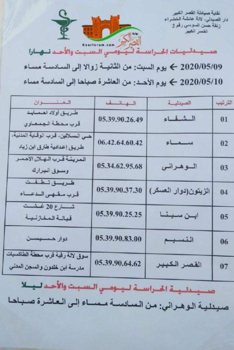 صيدليات الحراسة بمدينة القصر الكبير : السبت والأحد 9 – 10 ماي 2020
