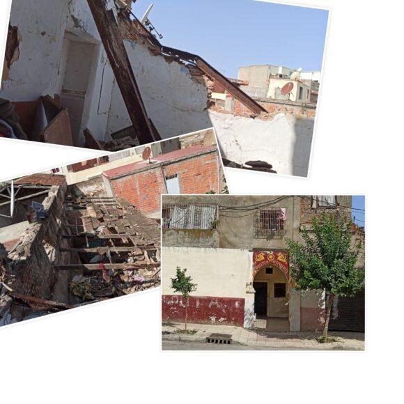"""سكان بناية """" دار غيلان """" يستغيثون بعد تهدم السقف على رؤوسهم !!"""