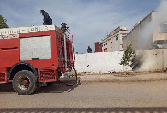 رجال الاطفاء بخمدون حريقا بسيدي مخلوف المرينة